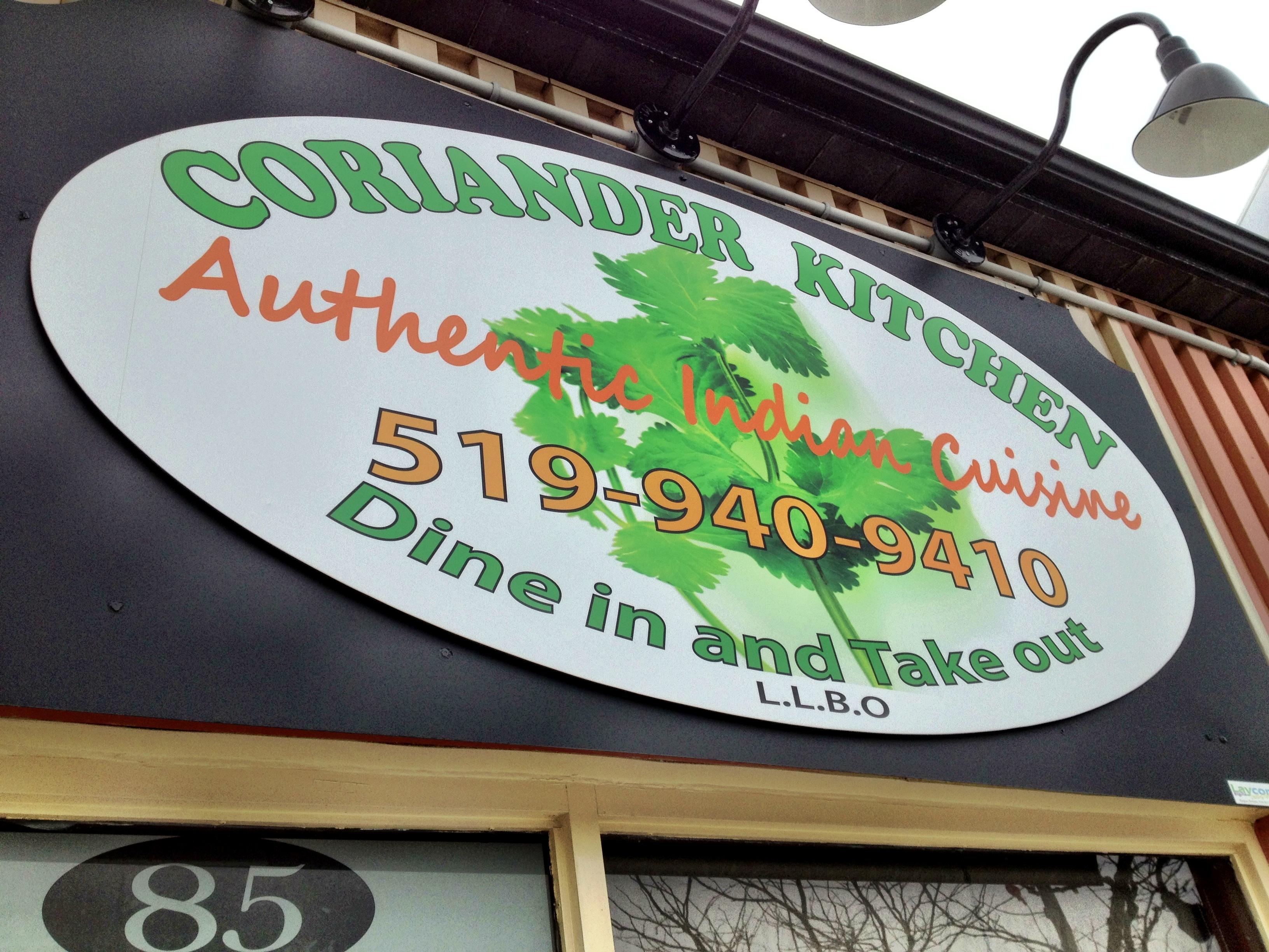 Coriander Kitchen Orangeville Menu