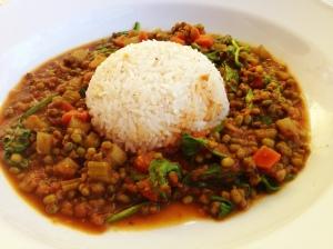 Mung Bean Stew with Garlic Friend Rice!
